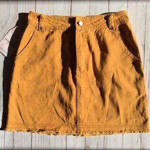 ed79e69e28 Honey Belle Skirts   Honey Punch Denim Skirt In Mustard   Poshmark